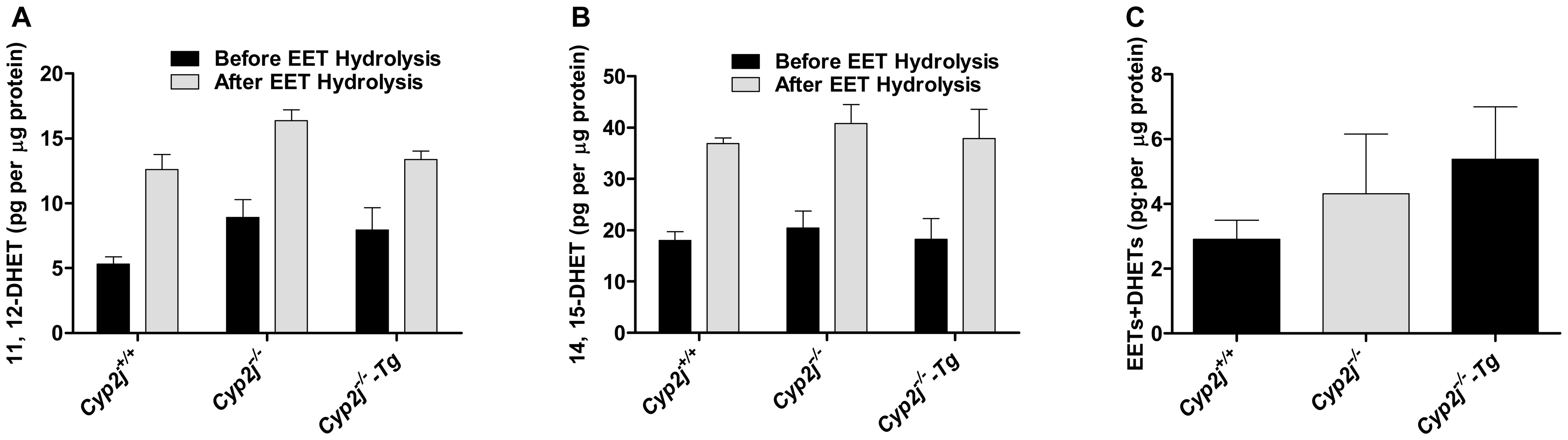 11, 12- and 14, 15-EETs measurements in BALF (A, B) and the generation of EETs and DHETs by pulmonary microsomes (C) of <i>Cyp2j<sup>+/+</sup></i>, <i>Cyp2j<sup>−/−</sup></i> and <i>Cyp2j<sup>−/−</sup>-Tg</i> mice.