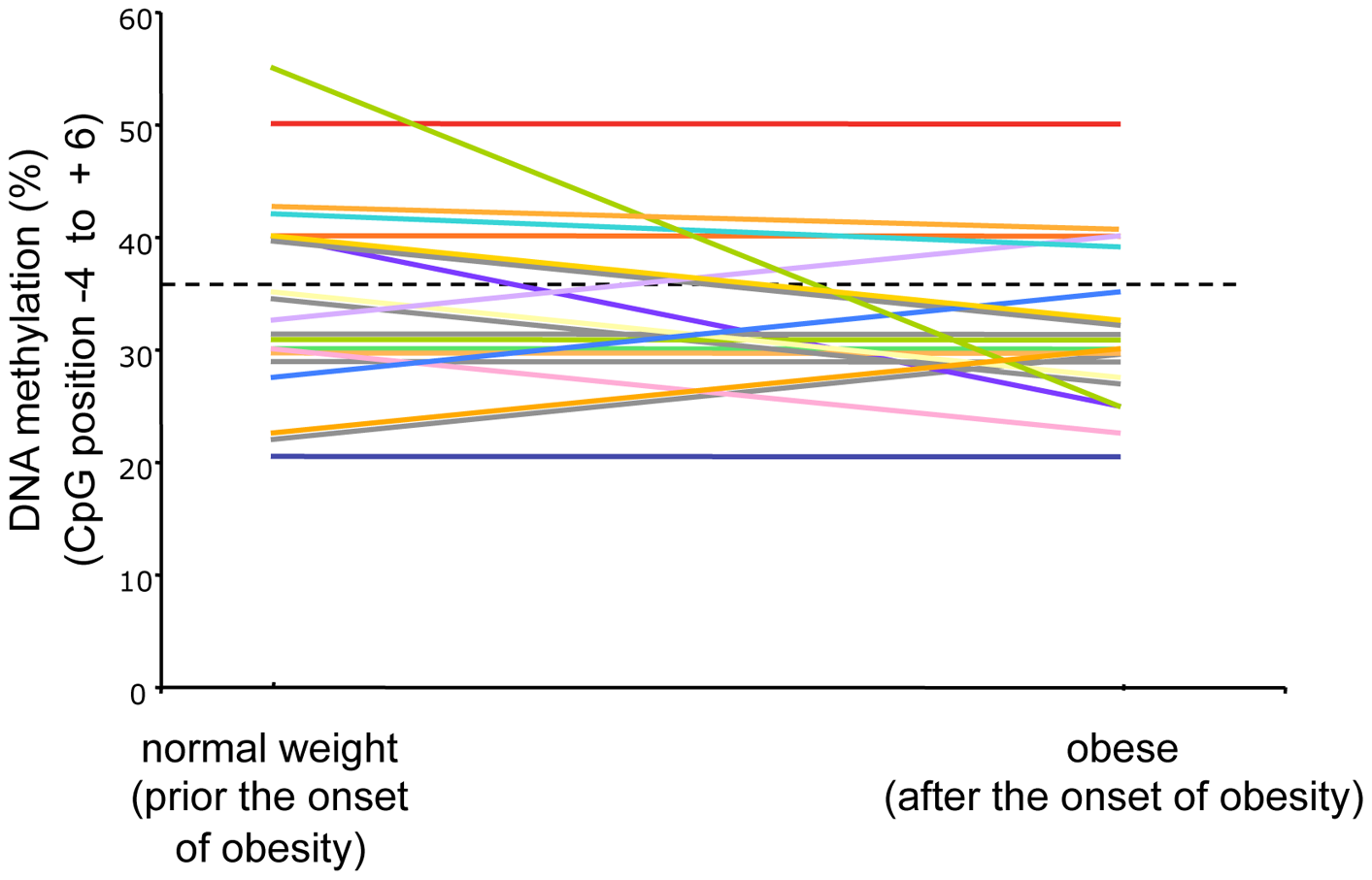 Longitudinal analysis of <i>POMC</i> DNA methylation score (%) (CpG position −4 to +6) before and after the development of obesity in altogether 21 participants of the MAS birth cohort.