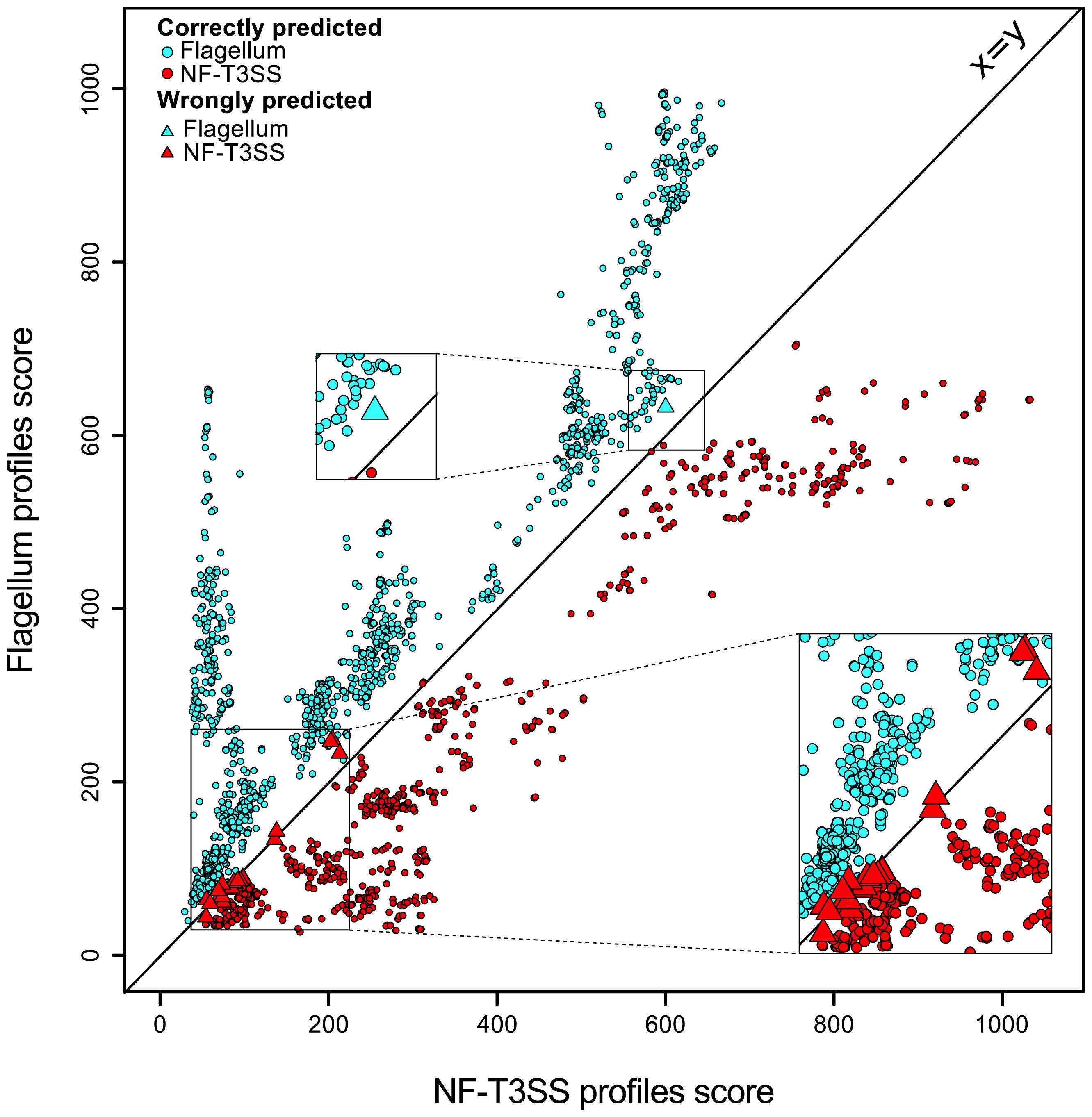 Discrimination between NF-T3SSs and flagella based on Hmmer profile scores.