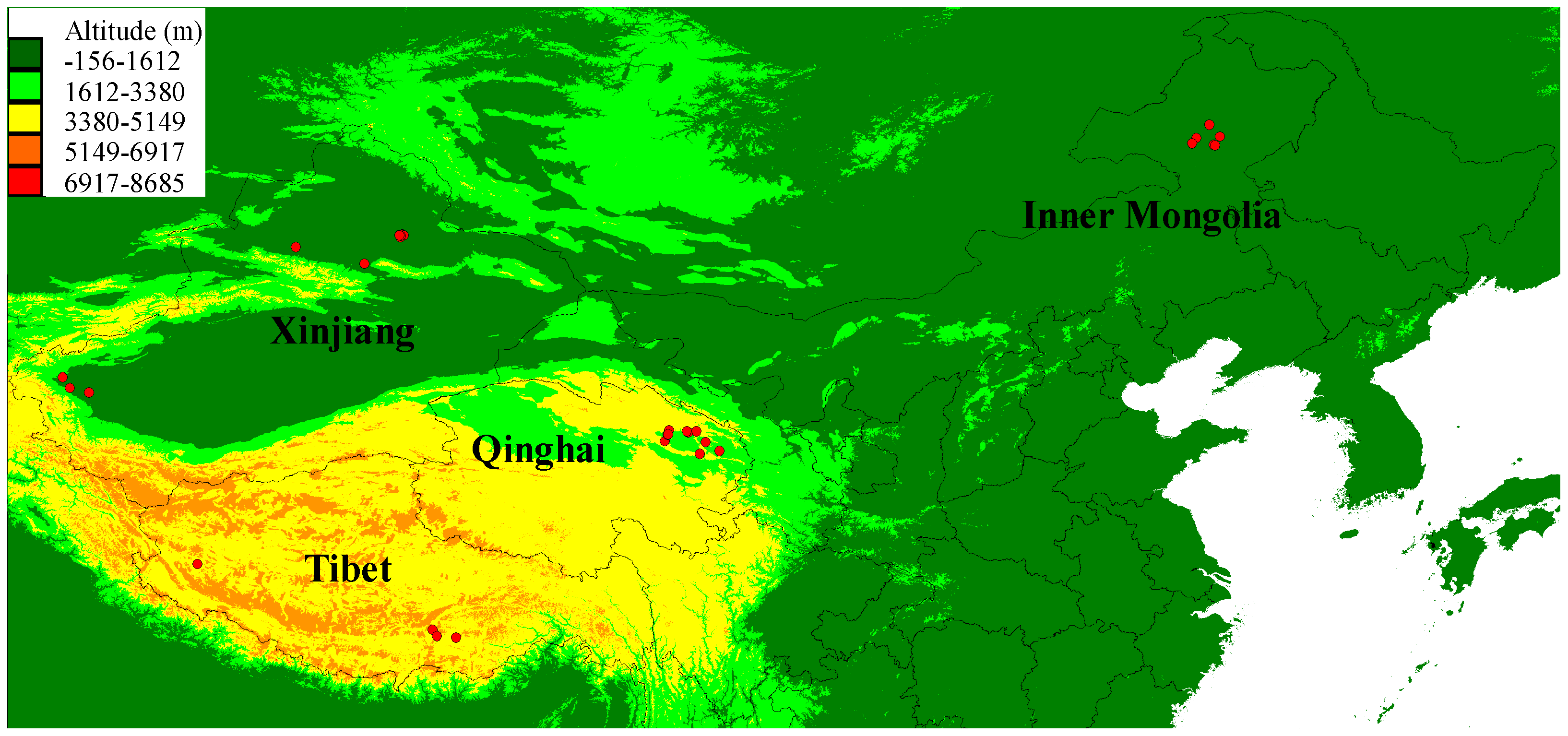 Geographical distribution of the sampled 35 Chinese wolves in this study.