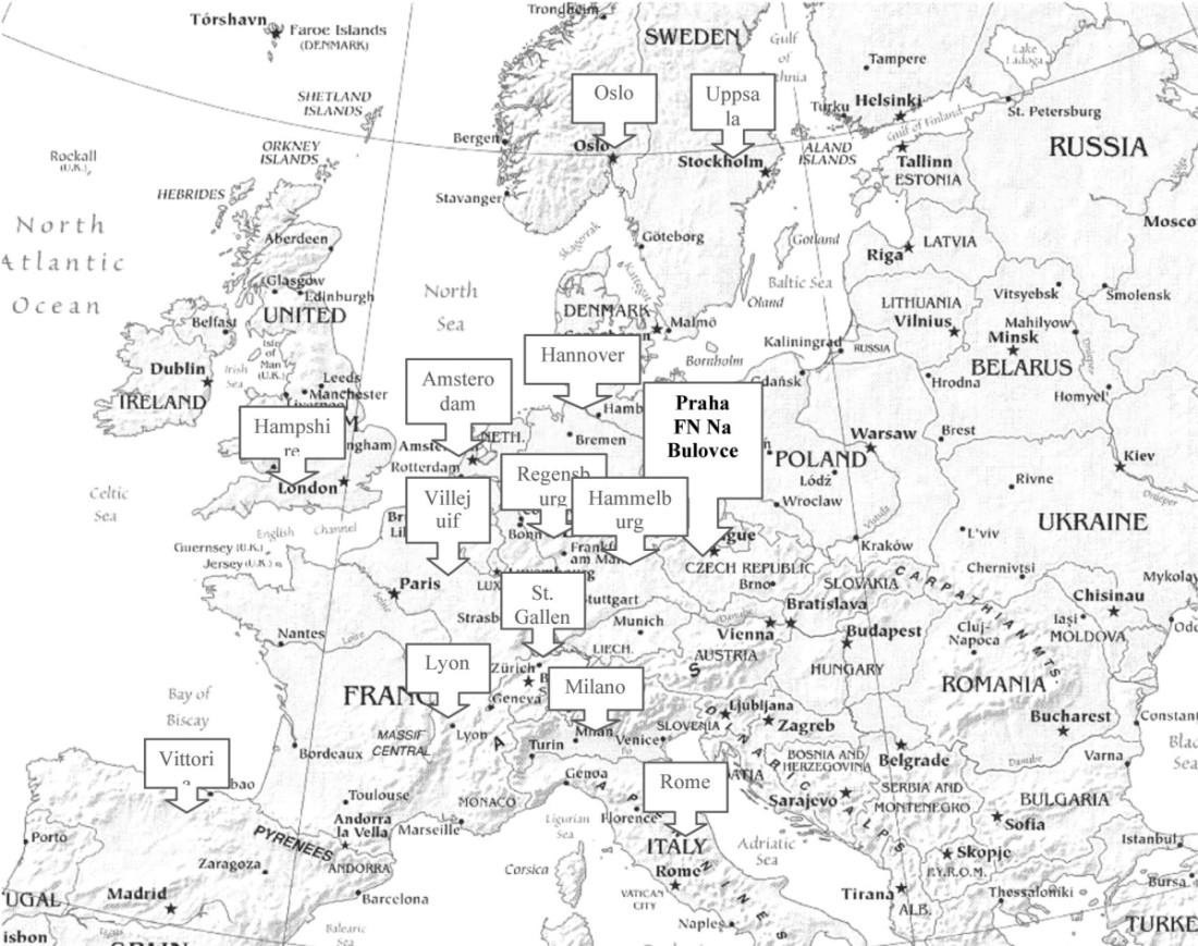 Evropská centra používající techniku HIPEC, podle [13]