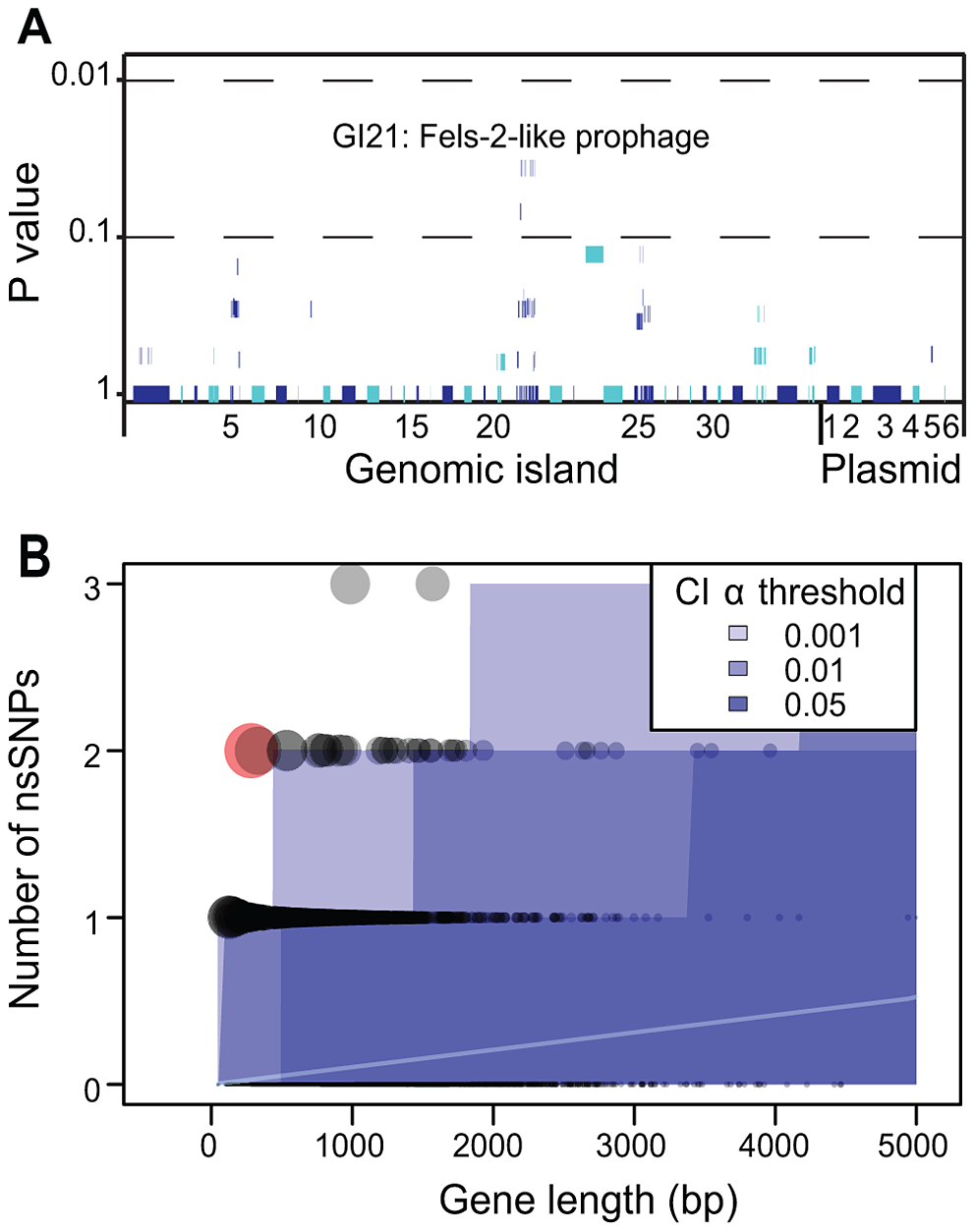 Lack of association of CDSs in the accessory genome with outbreak clades and statistical test of neutrality of non-synonymous mutations in the core genome.