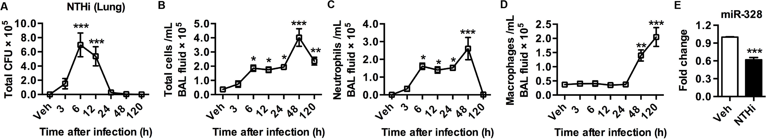 MiR-328 is down-regulated after NTHi infection.
