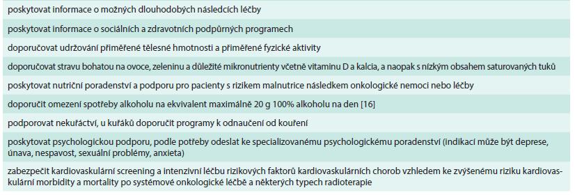 Obecná doporučení pro péči o pacienty dispenzarizované po úspěšné onkologické léčbě