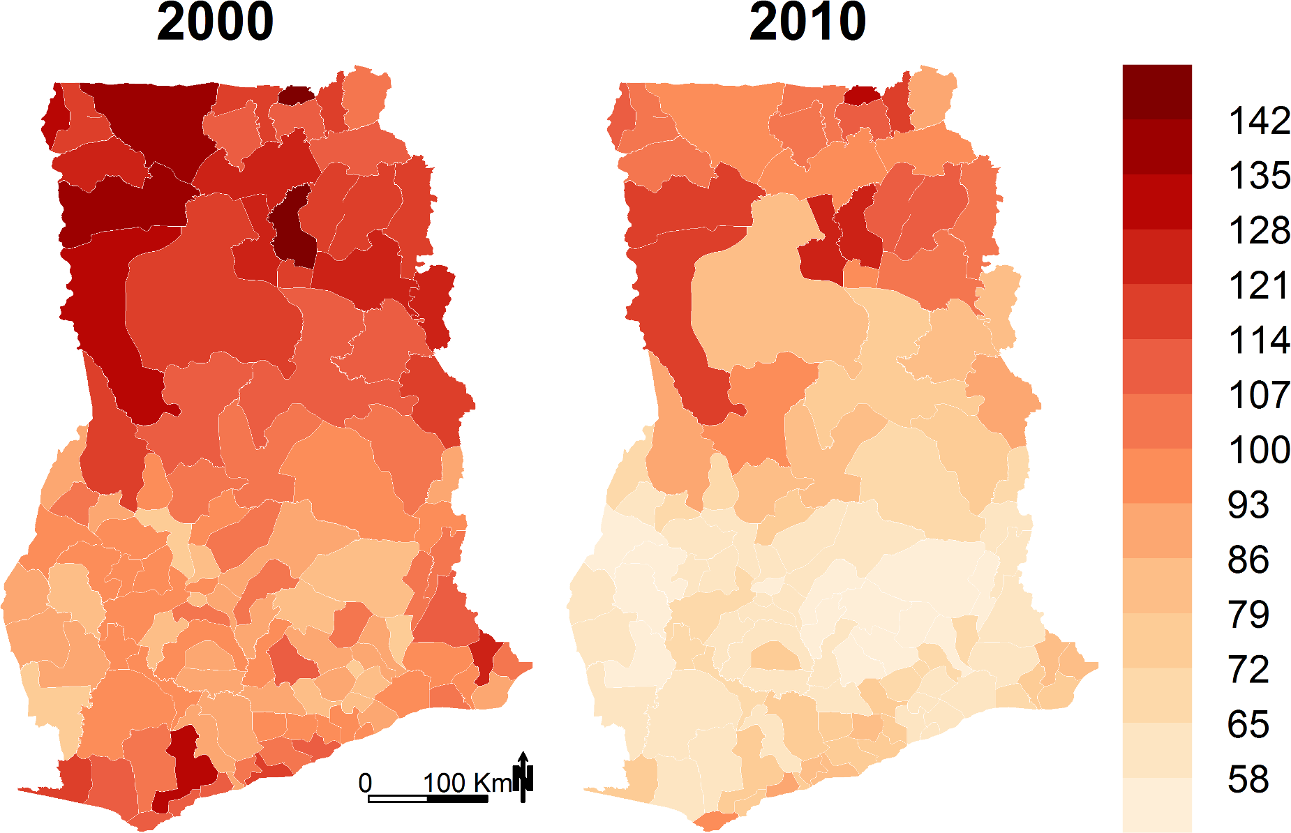 Under-five mortality (deaths per 1,000 live births) by district in 2000 and 2010.