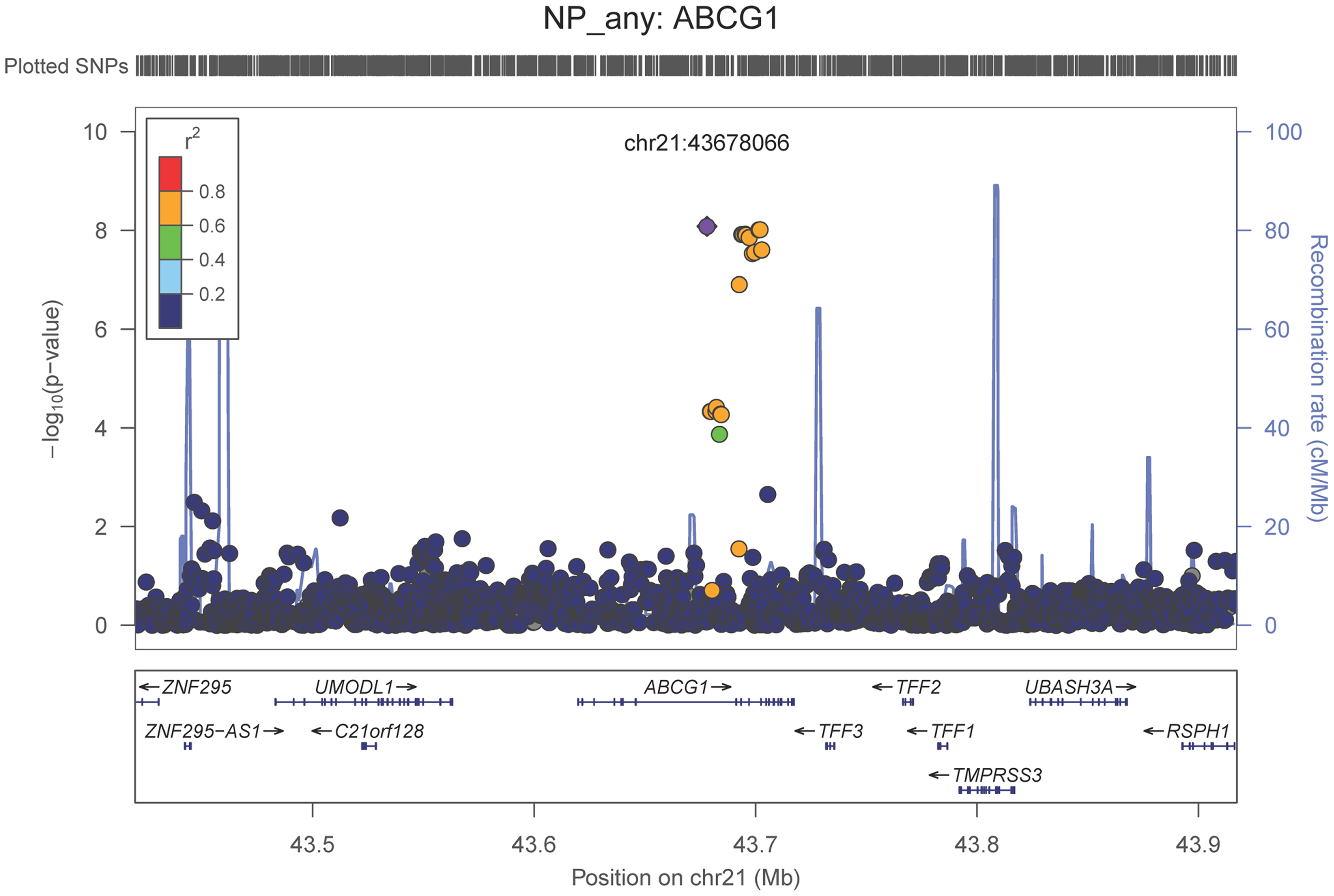 Regional association plot for <i>ABCG1</i> and the neuritic plaque (any vs. none) analysis.