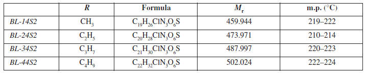 General characterization of investigated molecules BL-14S2-BL-A4S2