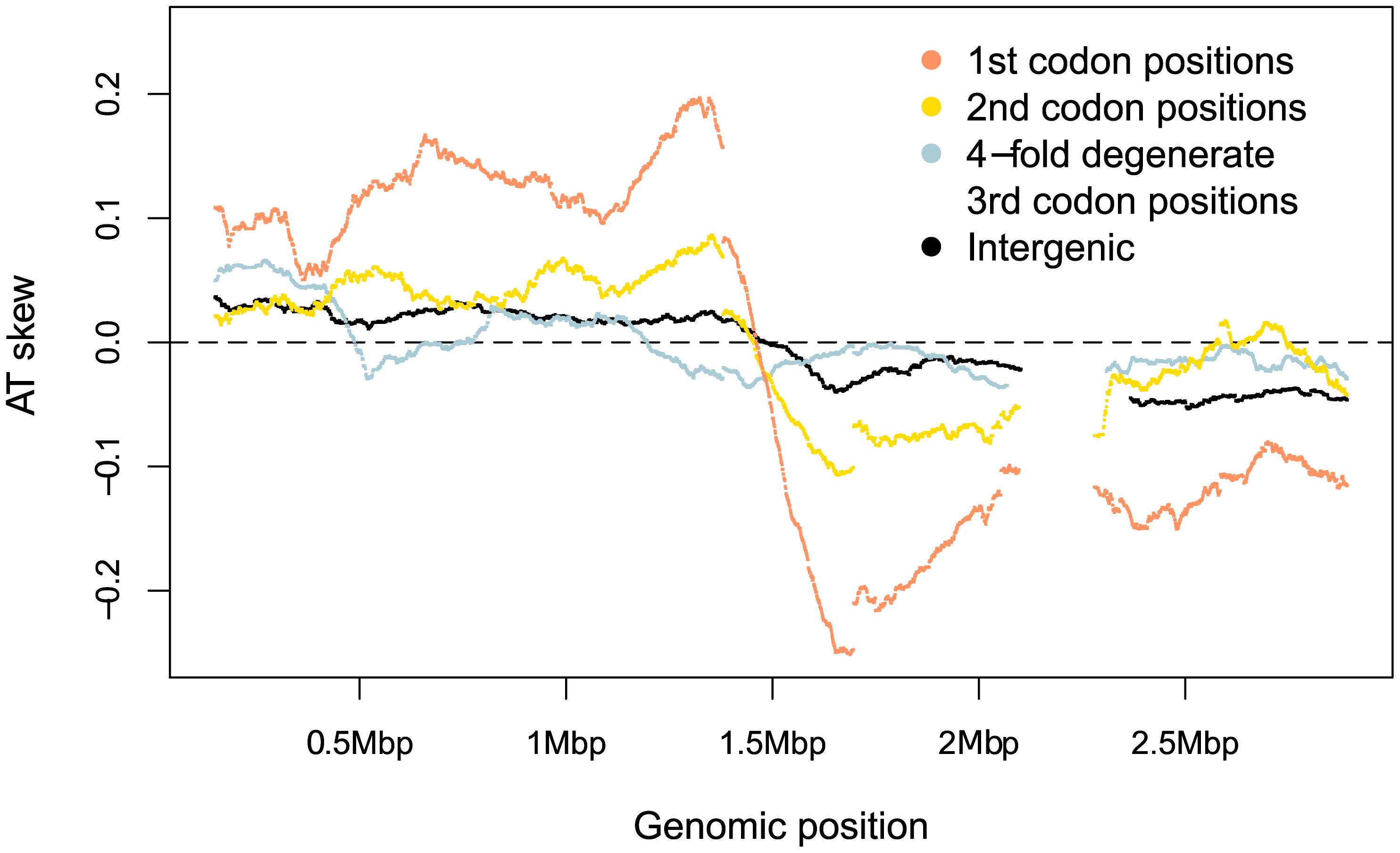 <i>S. aureus</i> AT skews in different sites along the genome.