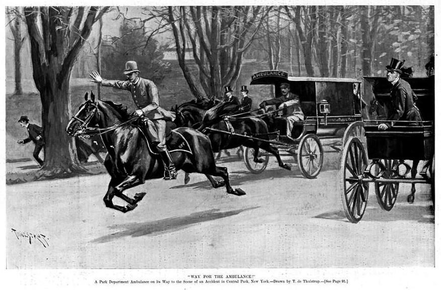 Ambulance měly při výjezdu přednost před všemi vozidly, kromě hasičských a poštovních (Way for Ambulance, Harper's weekly, 26. 1. 1895)
