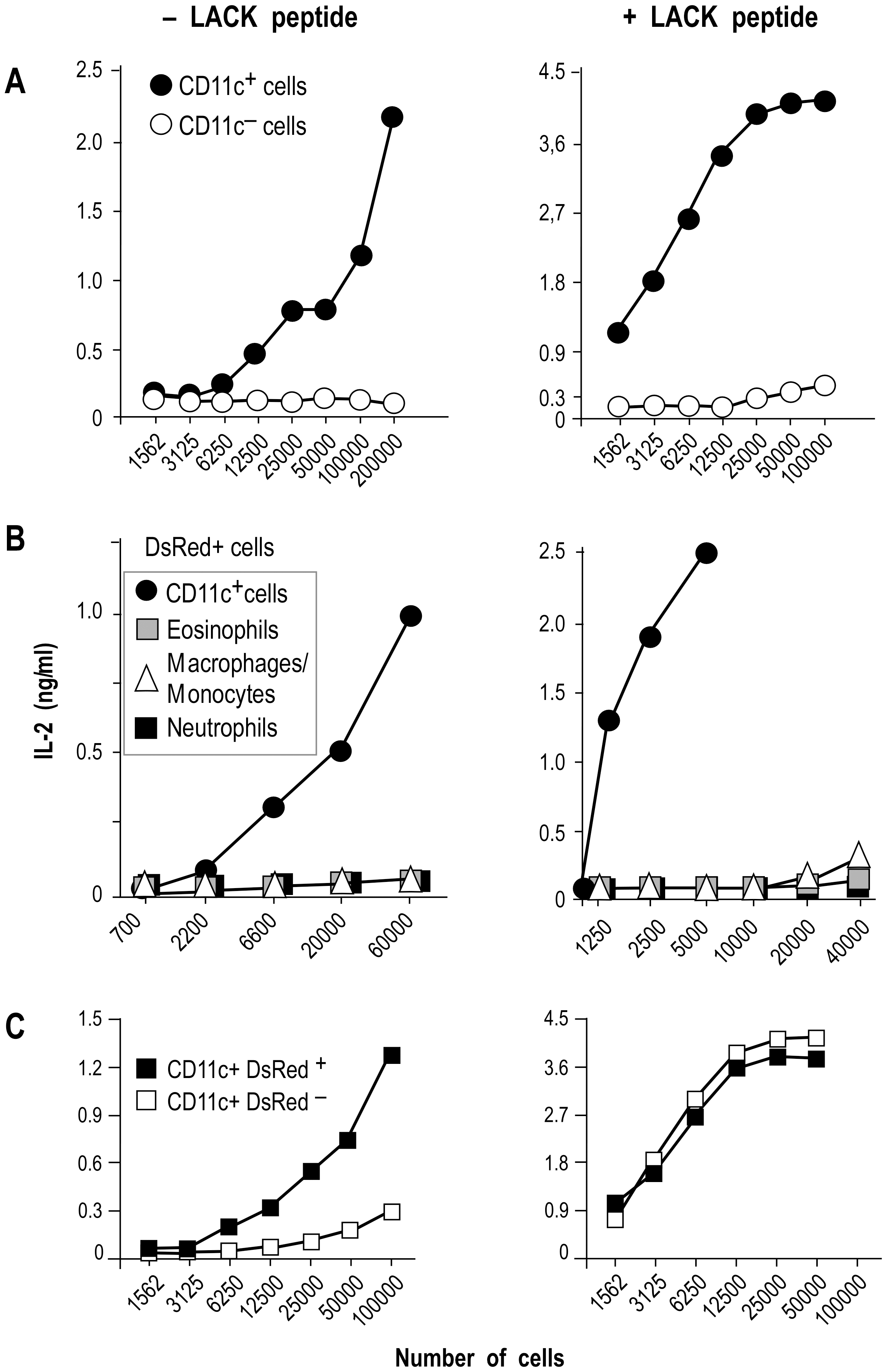 IL-2 secretion by LACK-specific T cell hybridomas upon incubation with different phagocytes.