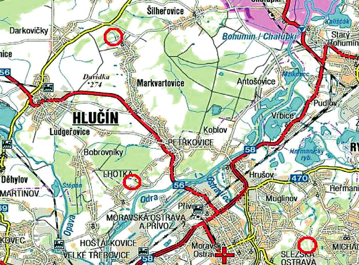 Mapka Ostravska (http://supermapy.centrum.cz) se třemi kroužky vyznačujícími lokality sběru (od severu k jihu studijní plochy Hlučín, halda A, a halda B) Fig. 1. Map of the Ostrava area (http://supermapy.centrum.cz) with three encircled tick collection sites (from North to South: Hlučín, control site C, slag heap Oskar, site A, and slag heap Emma, site B)