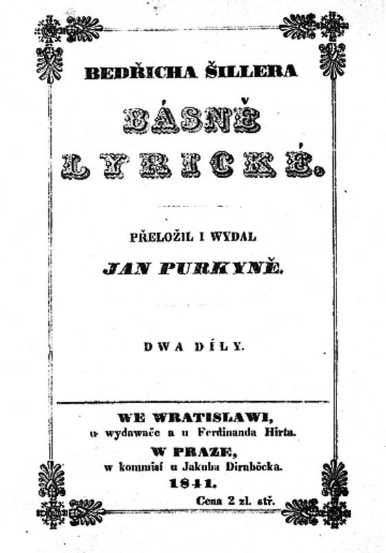 Titulní strana Purkyňova překladu Schillerových básní vydaných ve Vratislavi