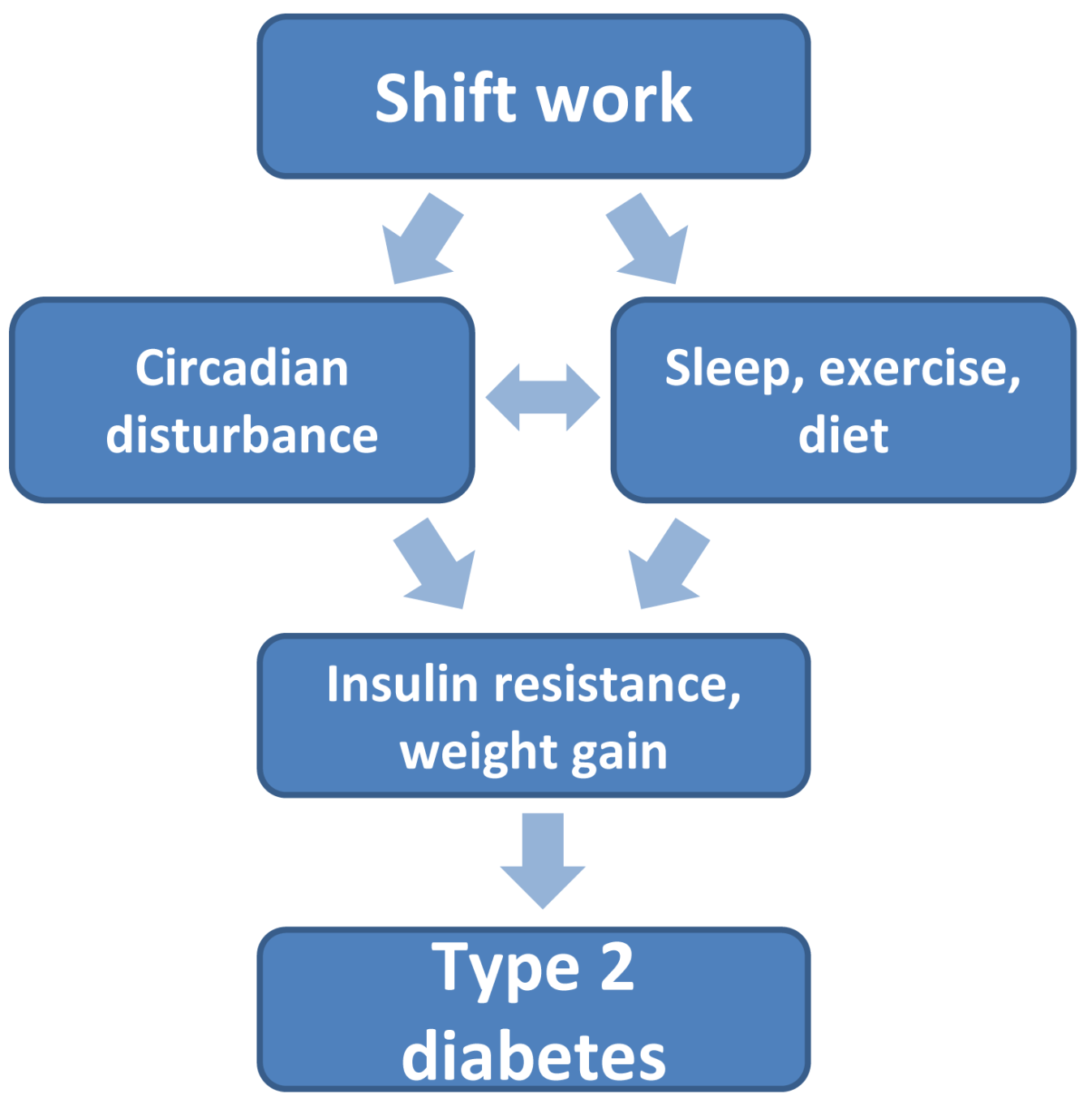 Links between shift work and type 2 diabetes.