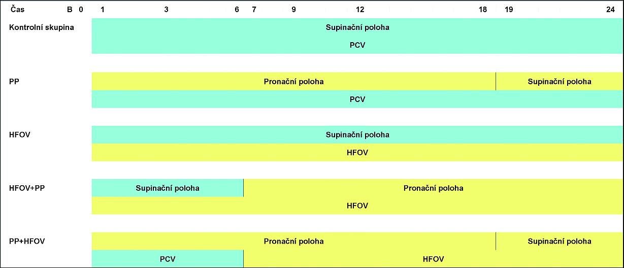 Grafické znázornění ventilačních technik a ventilačních poloh u pěti skupin během 24hodinového experimentálního modelu ARDS PCV – Pressure Control Ventilation; HFOV – vysokofrekvenční oscilační ventilace (High Frequency Oscillatory Ventilation; PP – pronační poloha (prone position)