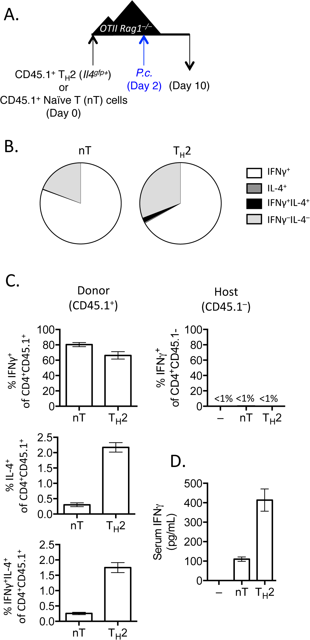 IFNγ production by Th2 cells does not depend on lymphopenia.