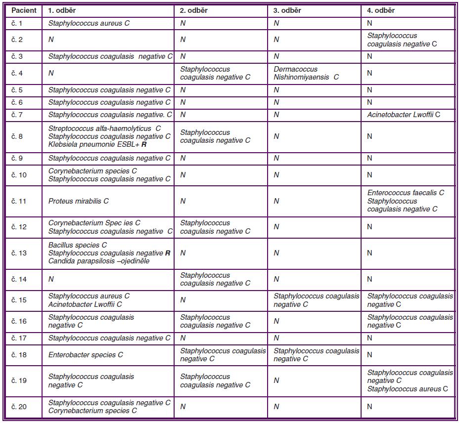 Zastoupení zjištěné mikroflóry ve spojivkovém vaku sledovaných pacientů