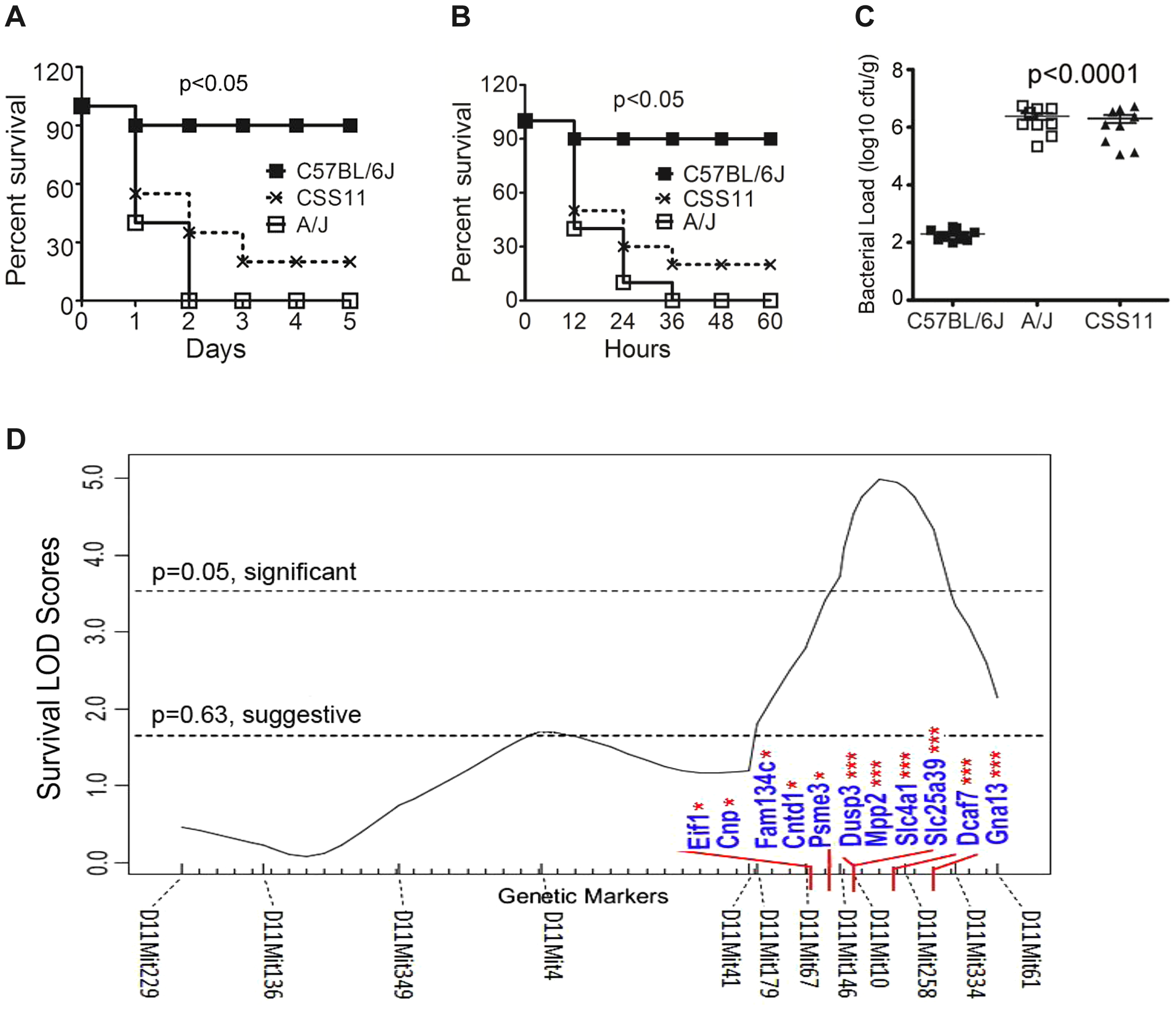 Chromosome substitution strain 11 was susceptible to <i>S. aureus</i> infection, and QTL mapping found eleven putative candidate genes on Chr11.
