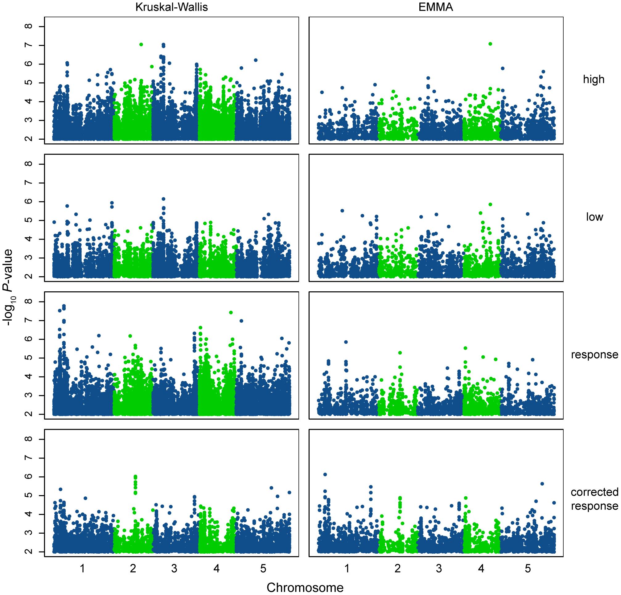 Manhattan plots of GWAS results.
