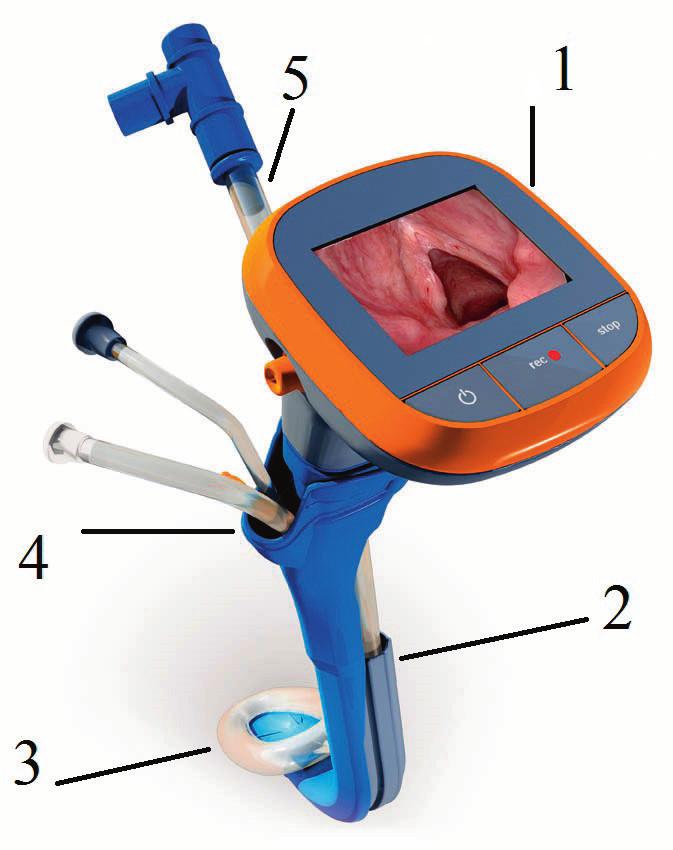 TotalTrack VLM – video intubační laryngeální maska (poskytnuto firmou Mediflow) 1 – monitor se zobrazením vstupu do hrtanu,  2 – intubační kanál, 3 – manžeta laryngeální masky,  4 – kanály pro odsávání sekretu z vchodu do hrtanu a pro zavedení žaludeční sondy,  5 – tracheální rourka s okruhem