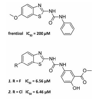 Struktura frentizolu a dvou nejúčinnějších derivátů s hodnotami IC<sub>50</sub>