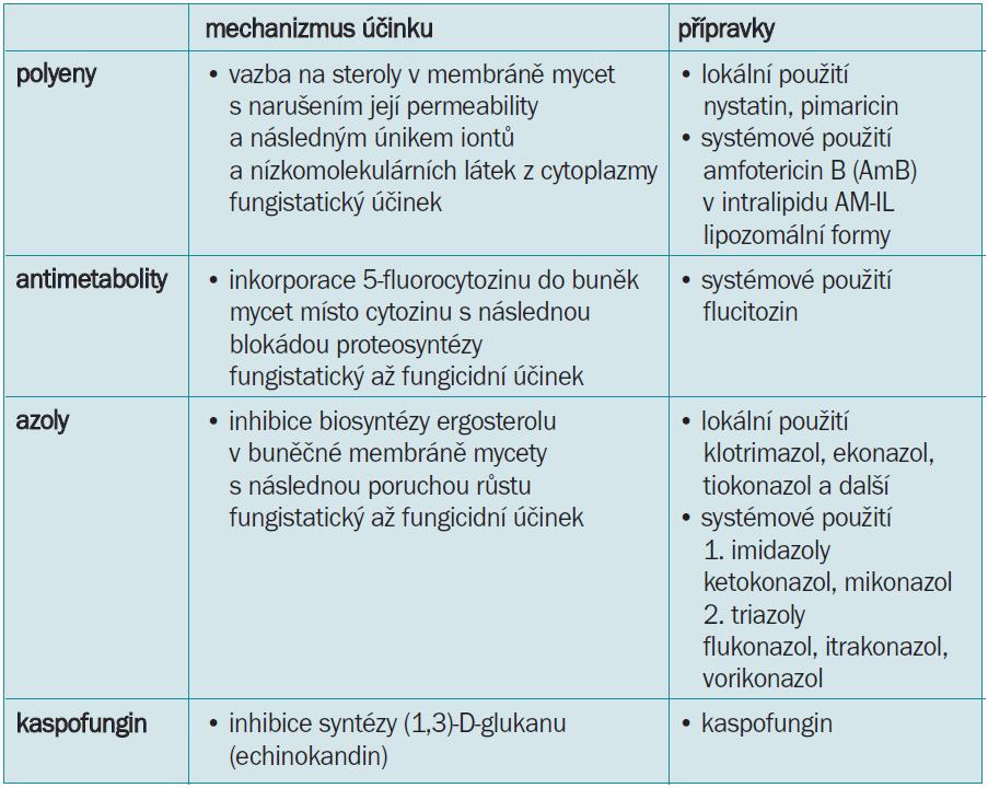Rozdělení antimykotik.