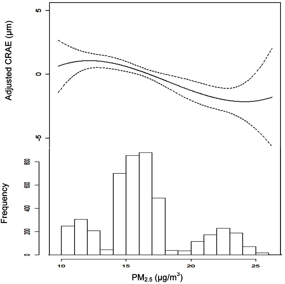 Associations between retinal arteriolar diameter (CRAE) and modeled long-term PM<sub>2.5</sub> concentrations after control for covariates.