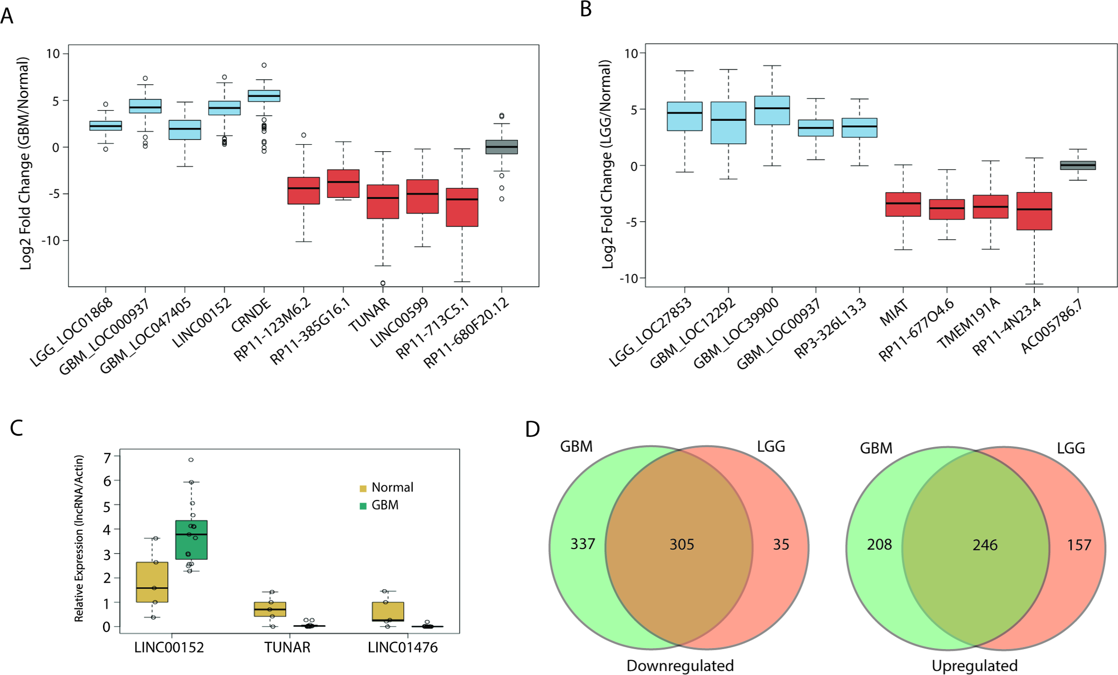 Large alterations in lncRNA expression in glial tumors.
