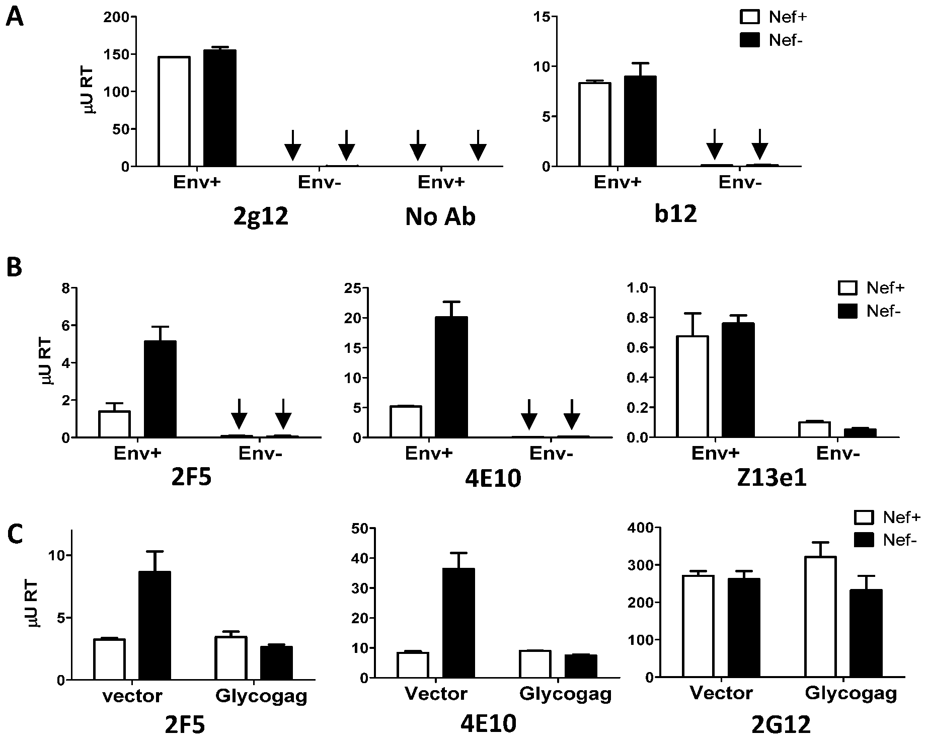 Nef and MoMLV Glycogag specifically alter the capture efficiency of HIV-1 by 2F5 and 4E10.