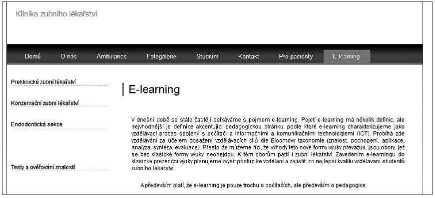 E-kurz umístěný na webových stránkách Kliniky zubního lékařství LF UP a FN Olomouc