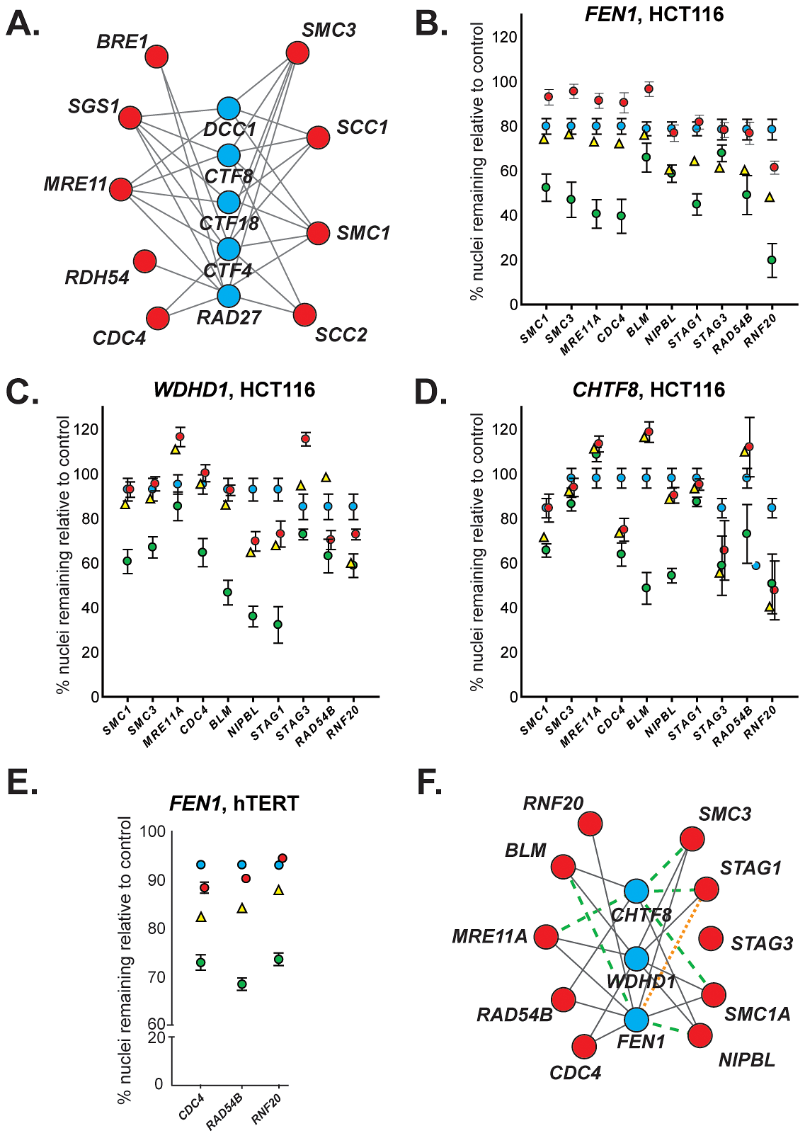 Evolutionary conservation of synthetic lethal interactions in HCT116 cells.