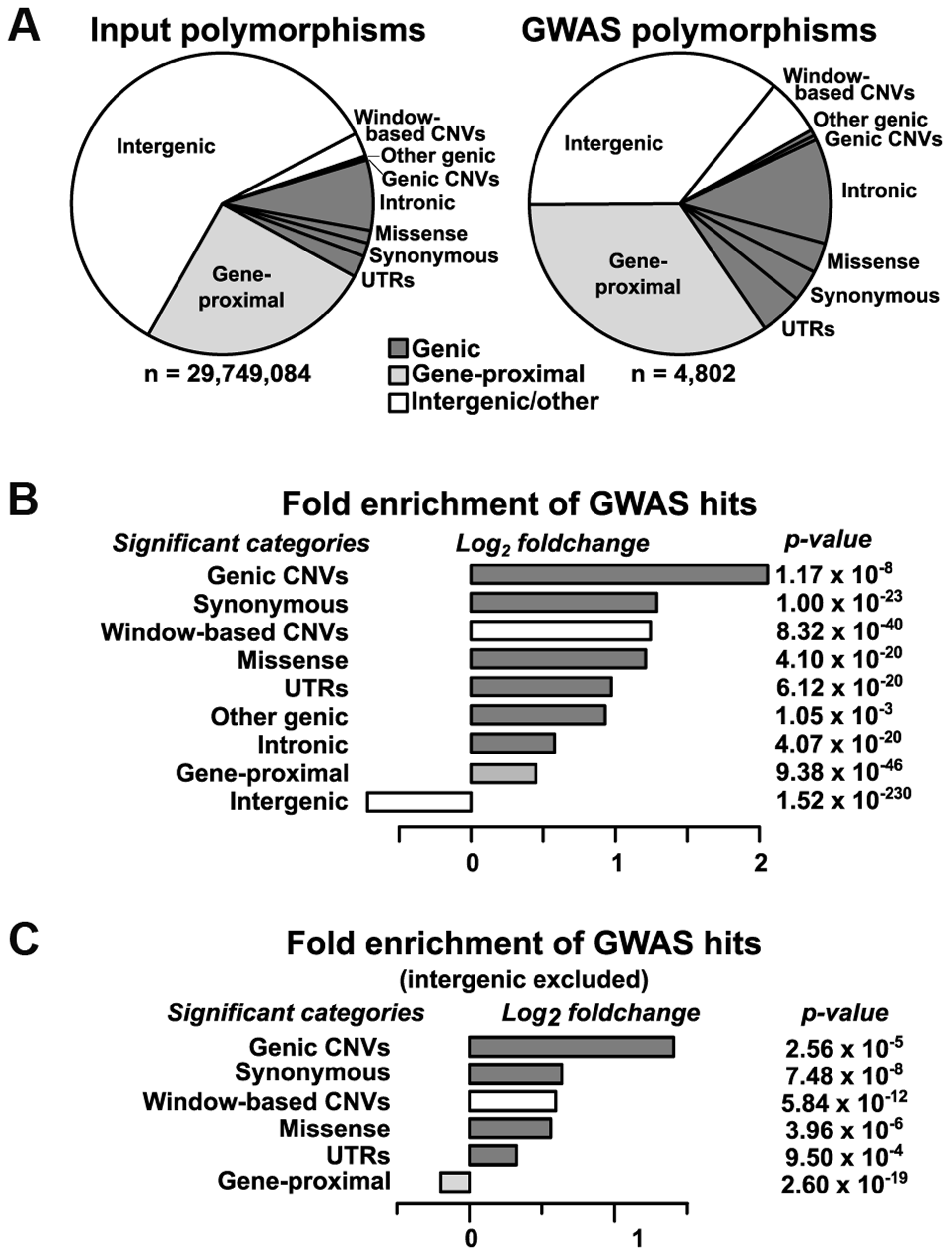 Relative enrichment of polymorphism classes in GWAS hits.