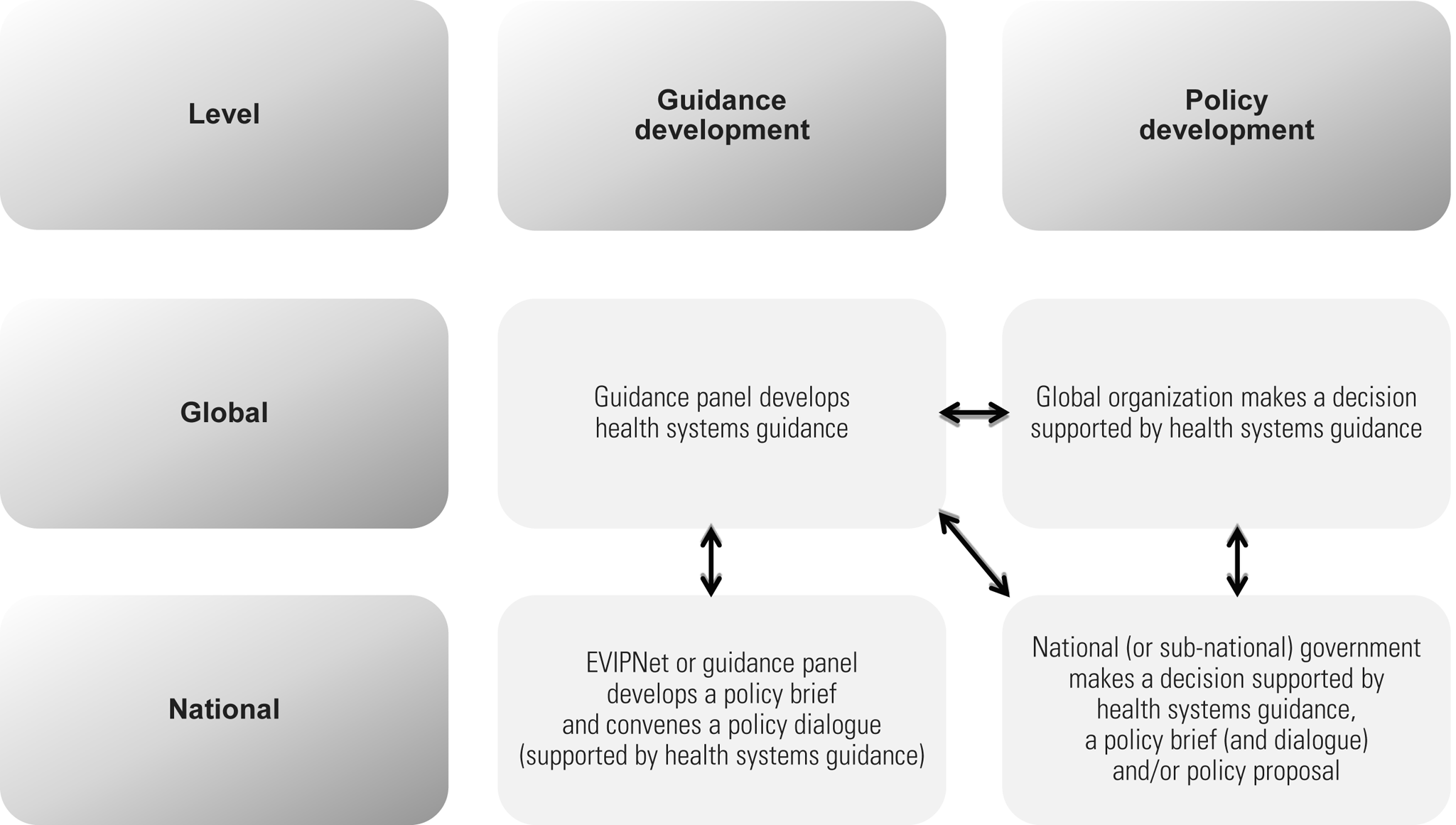 Potential links between guidance and policy development at global and national levels.