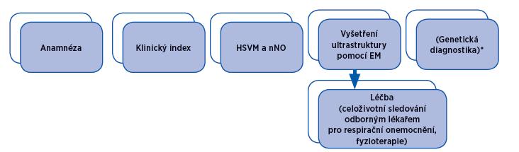 Schéma 1. Zjednodušený algoritmus vyšetření PCD ve FN Motol.