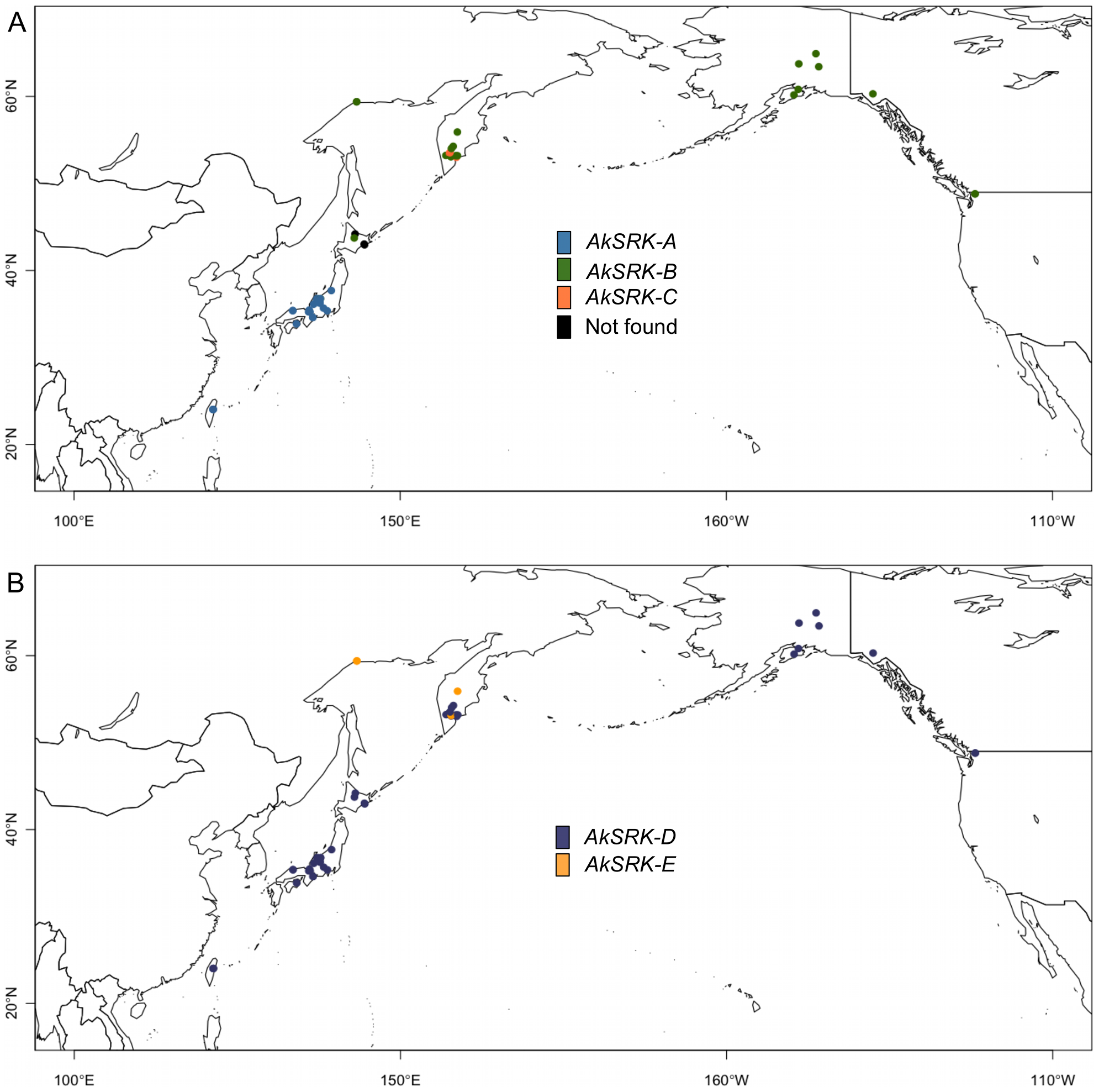 Geographic distribution of <i>S</i>-haplogroups in <i>A. kamchatica</i>.