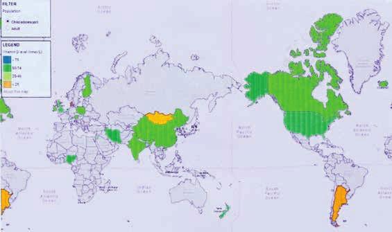 Mapa WHO ve spolupráci s International Osteoporosis Foundation s vyznačením stavu vitaminu D [25(OH)D<sub>3</sub>] ve světě u dětí (2012)