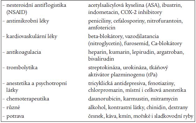 Léky, které působí změnu destičkových funkcí.