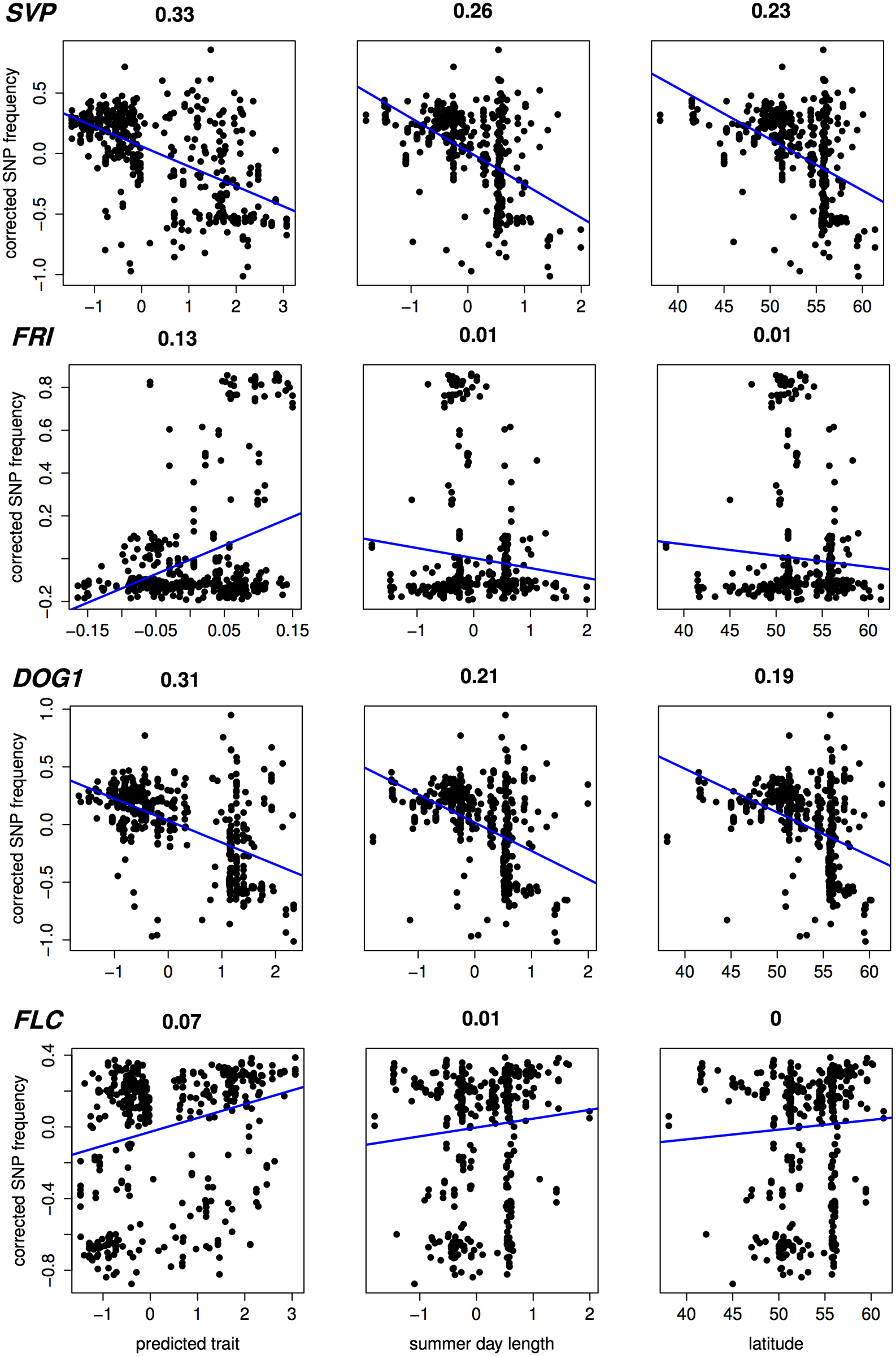 Correlation (Pearson <i>r</i><sup>2</sup>) with estimated SNP frequency at 4 important flowering loci.