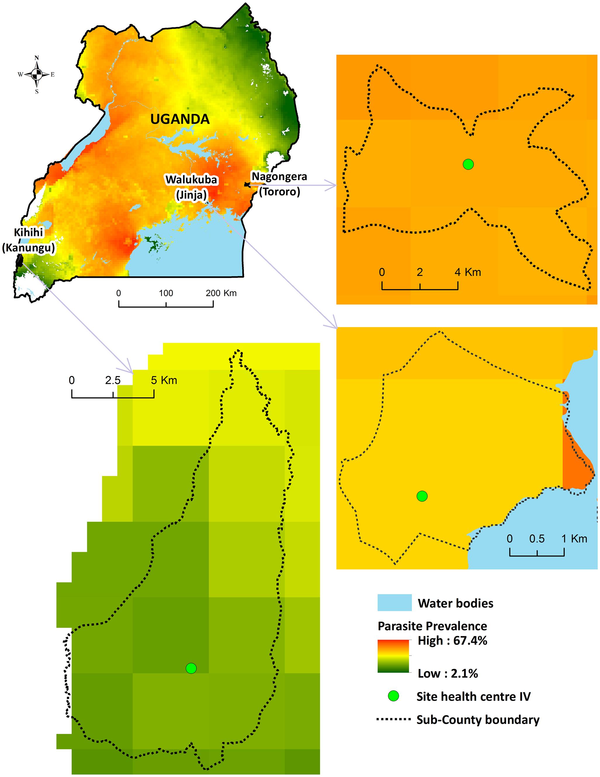 Map of Uganda showing study sites.