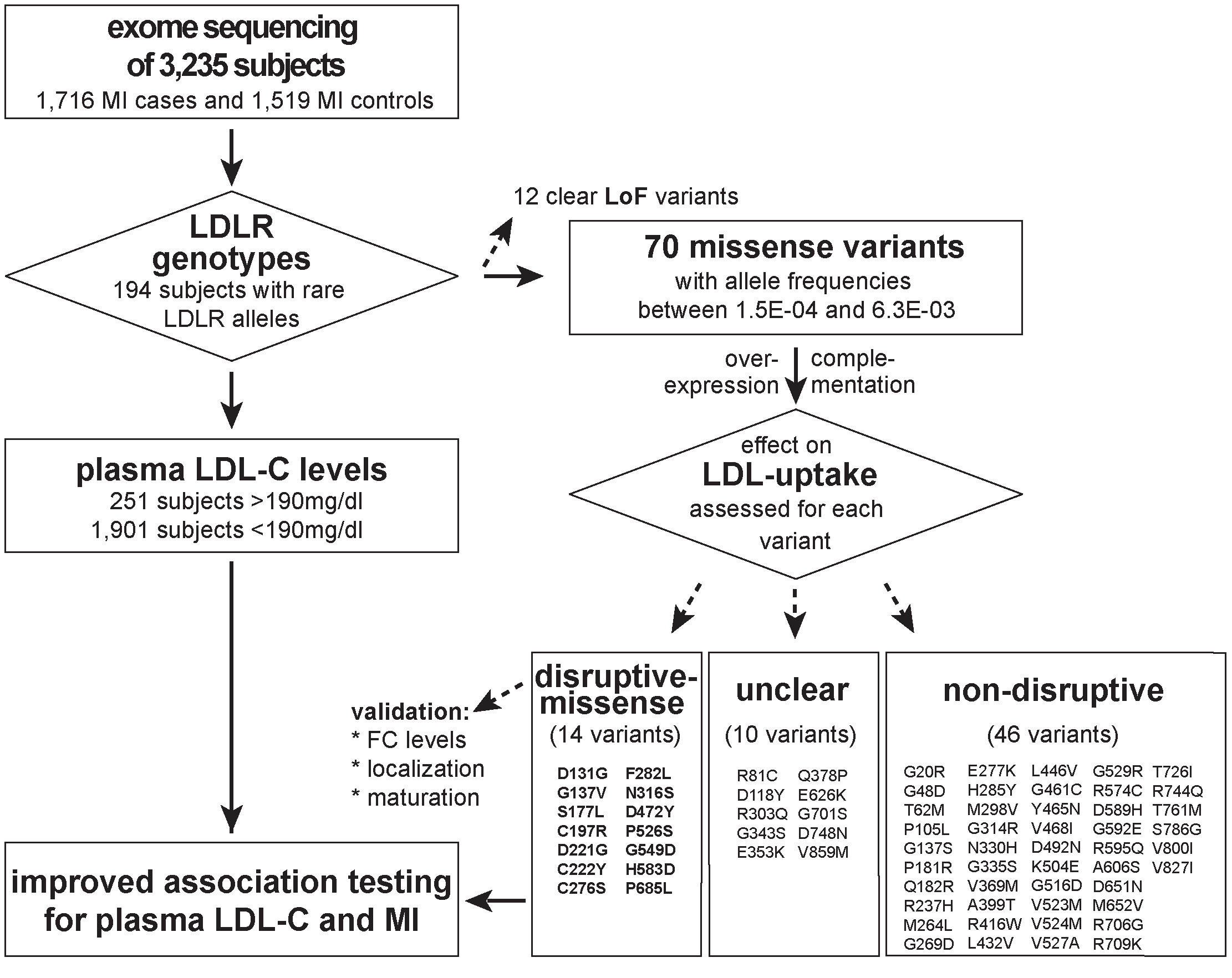 Workflow of this study to determine the functional impact of 70 rare missense variants on LDLR protein activities and improve rare variant association testing for plasma LDL-C and the risk for early-onset MI.