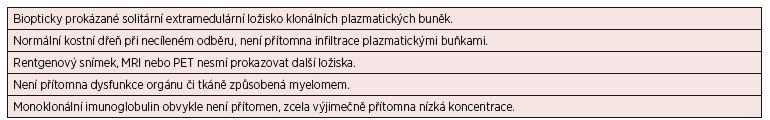 Tab. 4. 3 Kritéria solitárního mimokostního (extramedulárního) plazmocytomu*