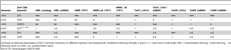 Summary of silencing phenotypes.