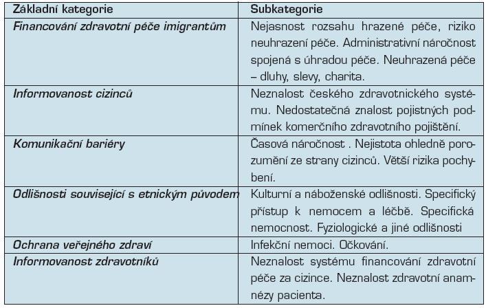 Základní kategorie a subkategorie identifikovaných problémů
