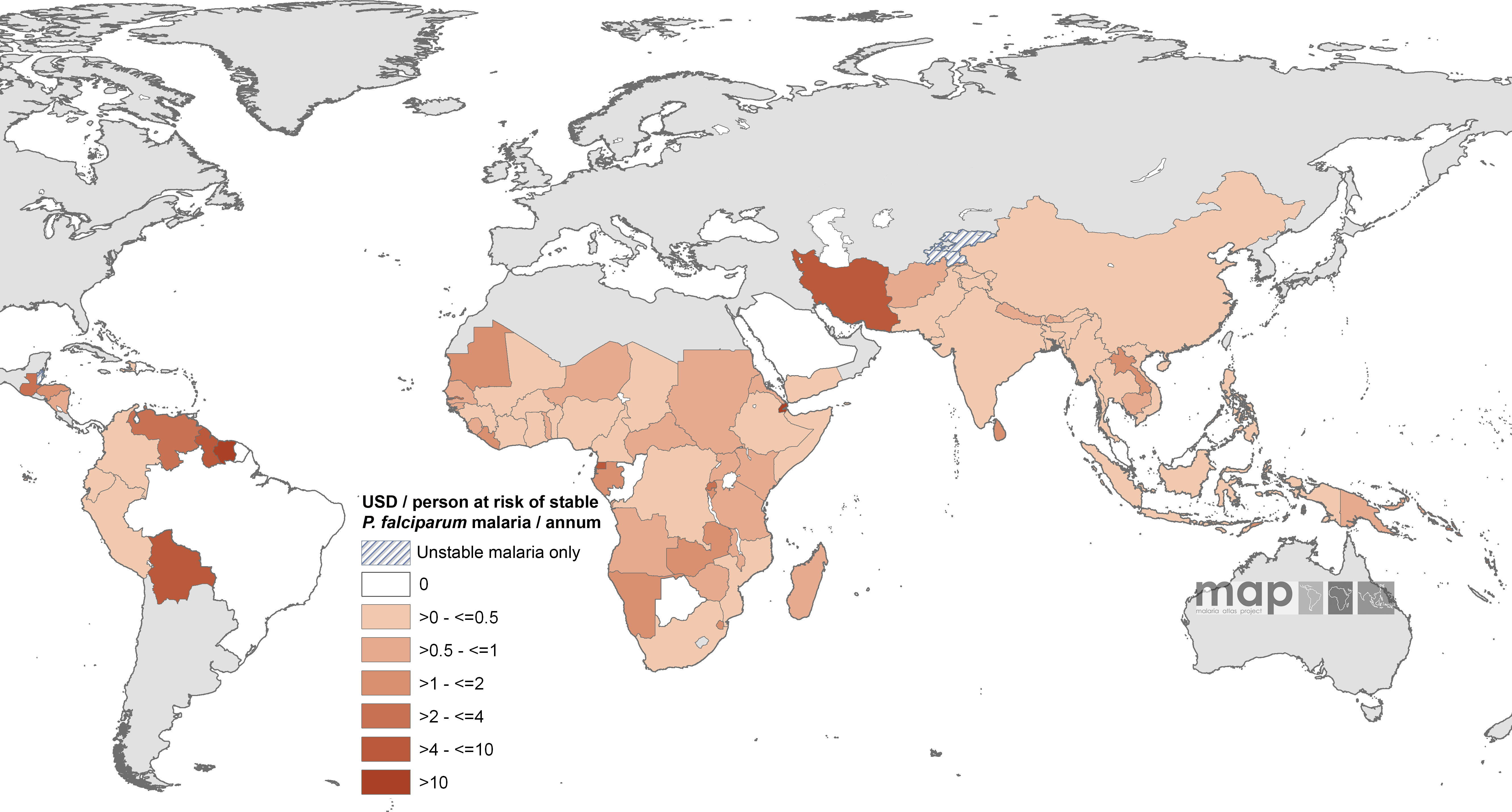 Mean Approved GFATM Funding for 87 <i>Pf</i>MECs Expressed as US Dollars (USD) Per Capita at Stable P. falciparum Risk Per Annum