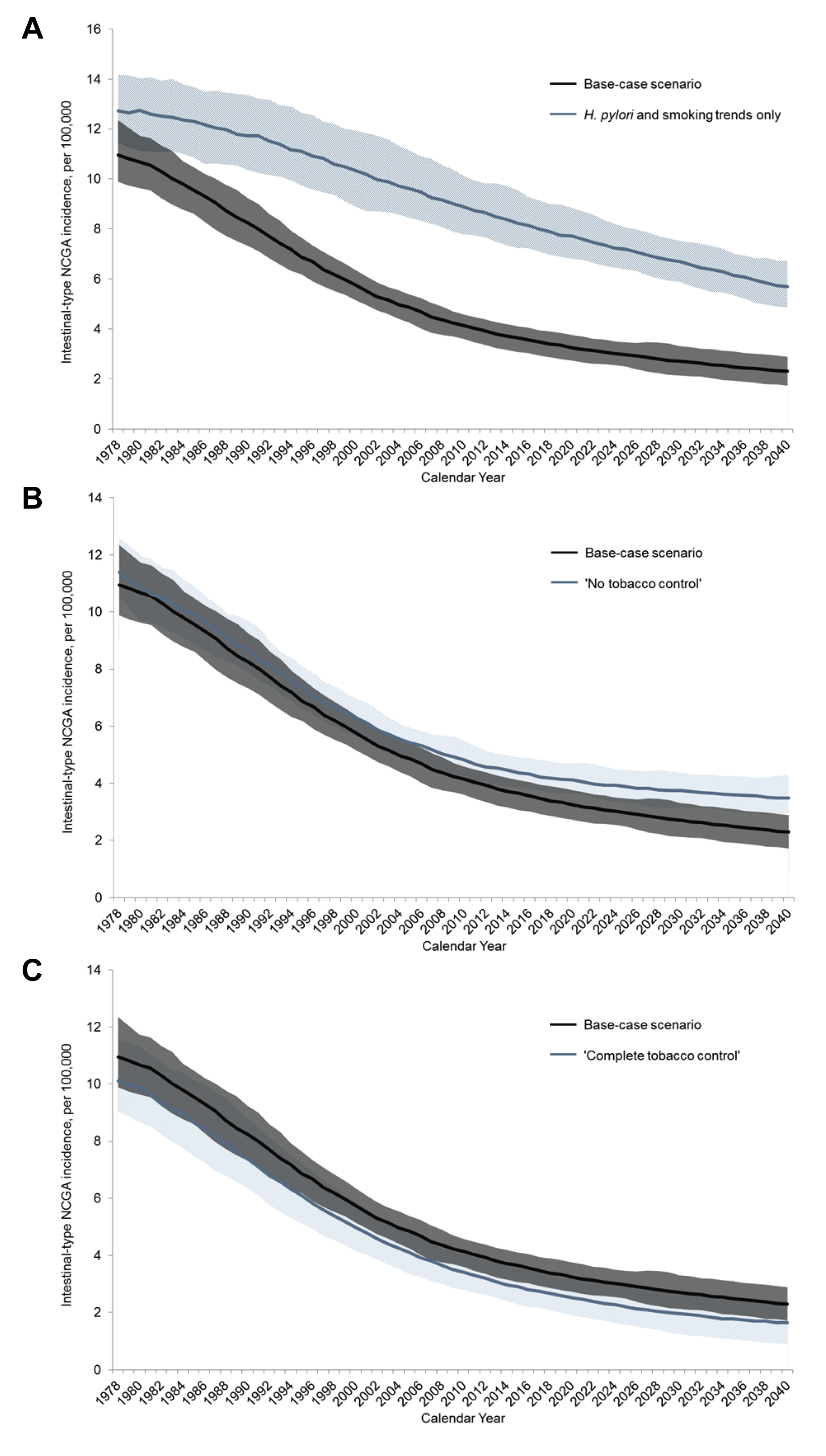 Modeled age-standardized intestinal-type NCGA incidence between 1978 and 2040 for select scenarios.