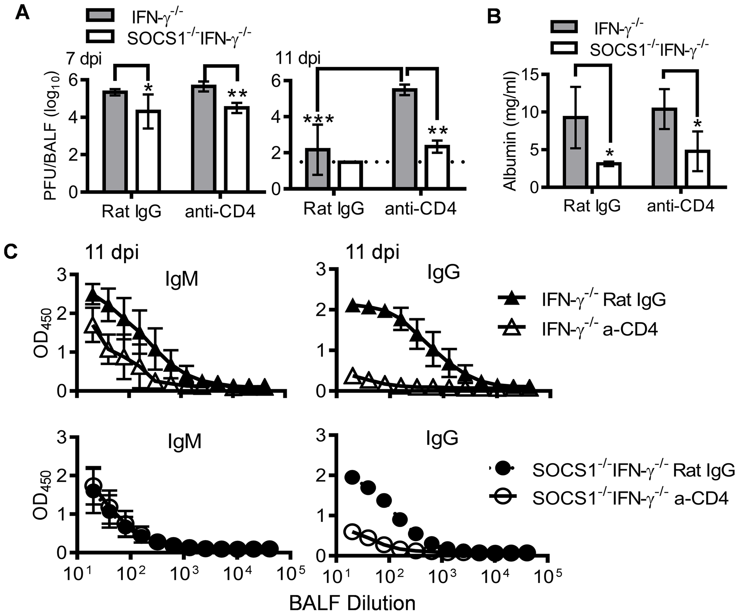 Antiviral immune responses in CD4<sup>+</sup> T cell depleted mice.