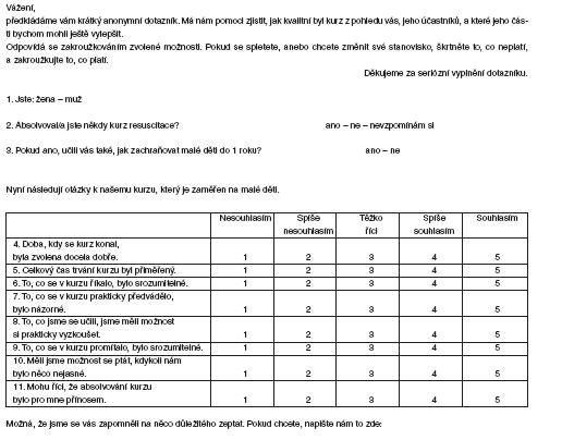Příloha 1. Dotazník pro účastnice/účastníky kurzu resuscitace dětí do 1 roku věku