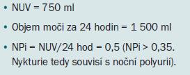 Příklad analýzy mikčního diáře u pacienta s noční polyurií.