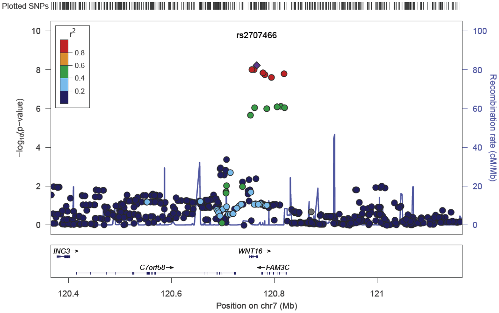 SNP rs2707466 regional association plot of the discovery genome-wide meta-analysis of cortical thickness.