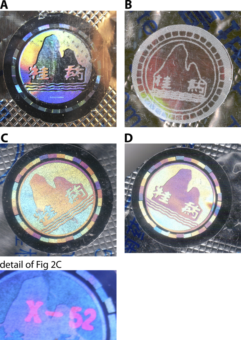 Examples of Genuine and Counterfeit Holograms