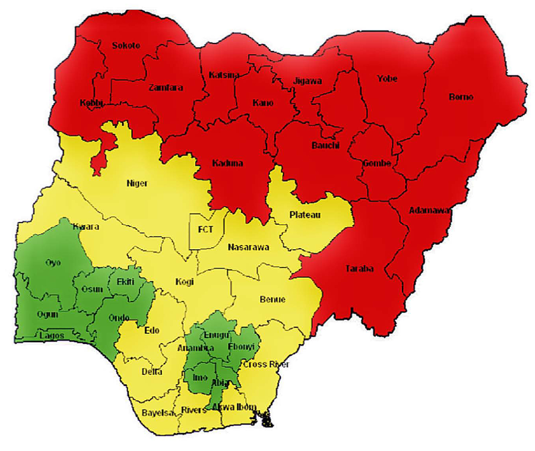 The states of Nigeria and their MMR categories.